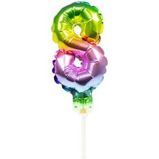 Folieballon Taart Topper Regenboog Cijfer 8 - 13 cm