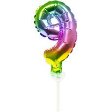Folieballon Taart Topper Regenboog Cijfer 9 - 13 cm
