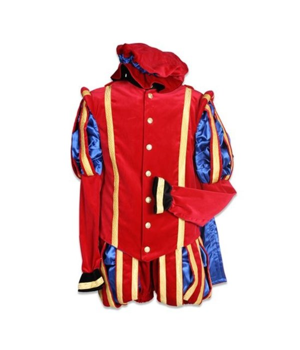 Pieten outfit luxe fluweel Gerona rood/blauw