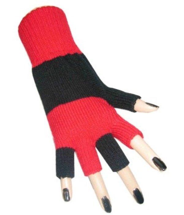 Vingerloze handschoenen zwart/rood