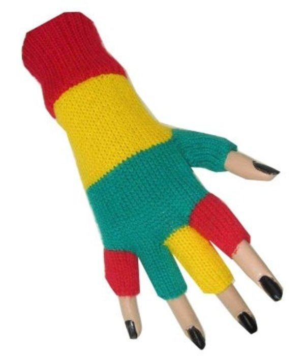 Vingerloze handschoenen rood/geel/groen