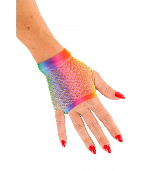 Nethandschoen kort vingerloos regenboog