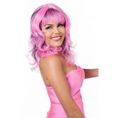 Pruik krullen neon pink