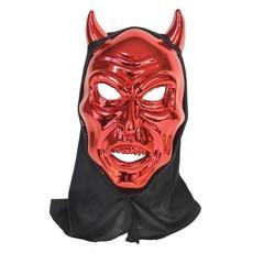Rood Duivelsmasker Met Kap Metallic