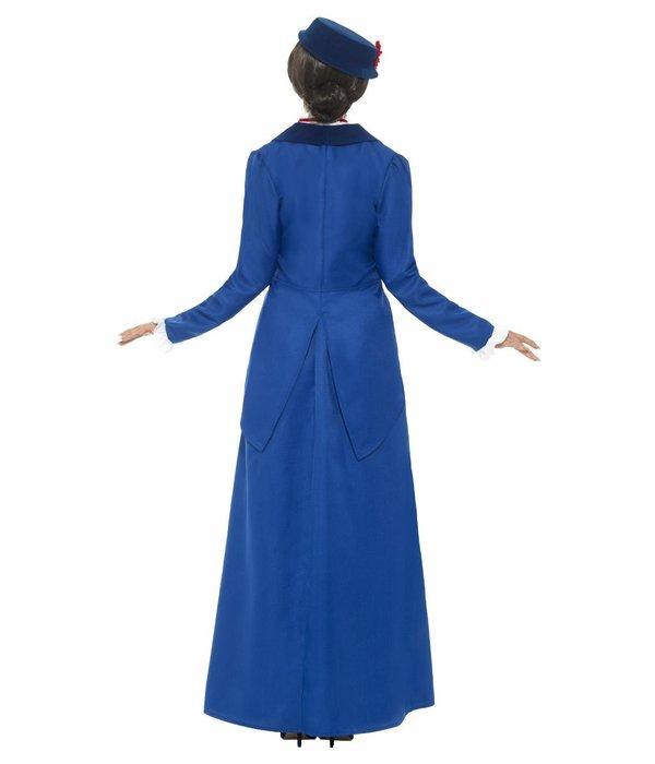 Victoriaanse Nanny kostuum blauw