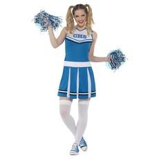 Cheerleader kostuum blauw met pompoms