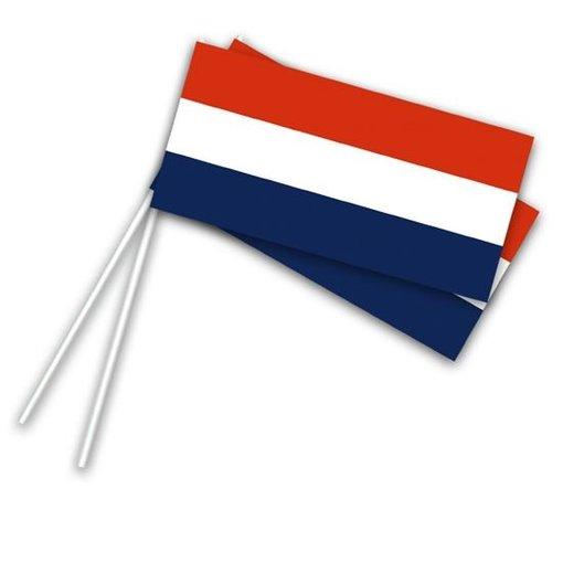 Papieren zwaaivlaggetjes op stok Holland (50st)