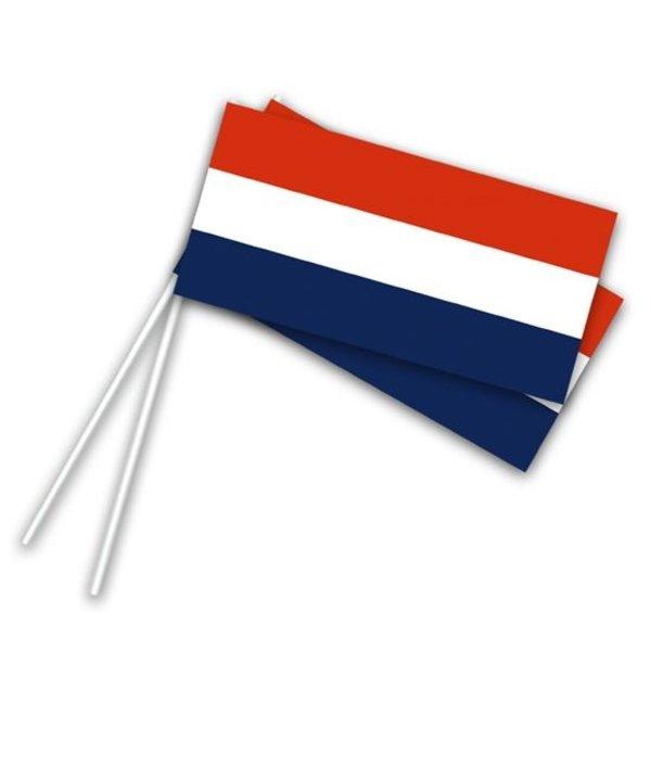 Papieren zwaaivlaggetjes op stokje Holland (50st)
