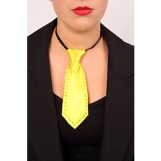 Mini stropdas fluor geel met strass steentjes
