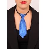 Mini stropdas blauw met strass steentjes