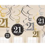 21 Jaar Hangdecoratie Swirls Goud/Zilver