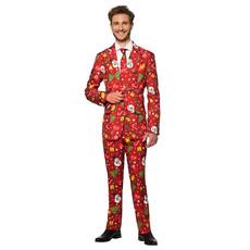 Rood Fonkelend Kerstmis Man Kostuum