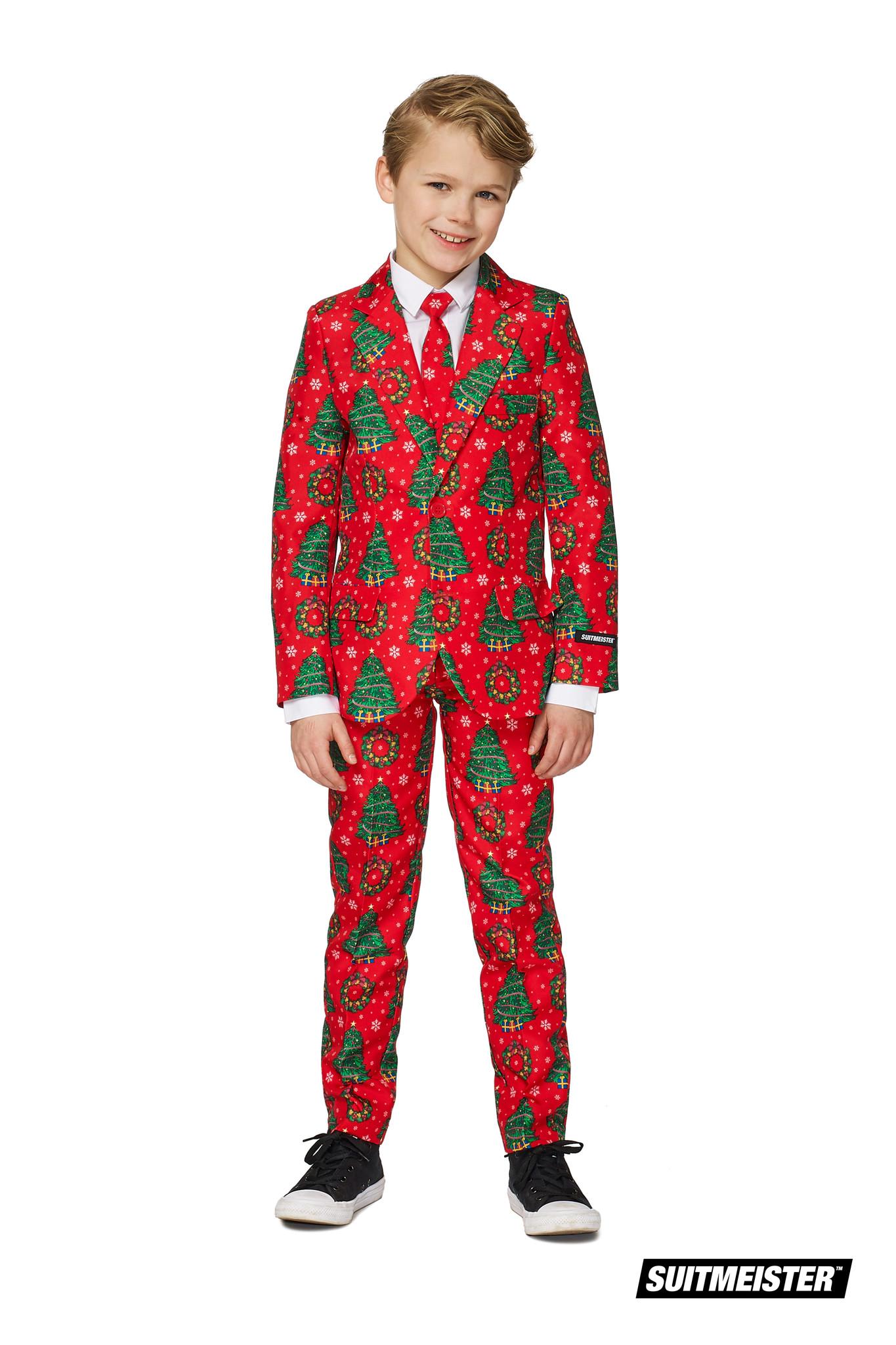 Kerstboom maatpak kind rood