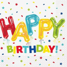 Servetten Happy Birthday Gekleurd - 16 Stuks