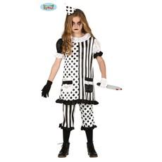 Horror Clown Kostuum Meisje Zwart/Wit