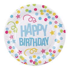 Bordjes Happy Birthday Confetti Print - 6 Stuks