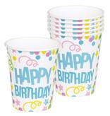 Bekers Happy Birthday Confetti Print - 6 Stuks