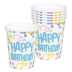 Bekers Happy Birthday Confetti Print - 6 Stuks
