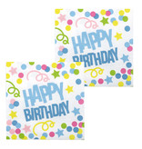 Servetten Happy Birthday Confetti Print - 12 Stuks