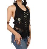 Western Shirt Dames Zwart