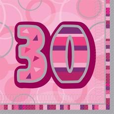 Servetten Roze 30 Jaar - 16 Stuks