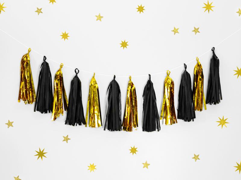 Feestbazaar Tassel Slinger Spiegel goud/zwart 1,5 meter online kopen