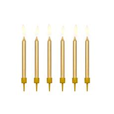 Verjaardagskaarsjes goud 6cm - 6 stuks