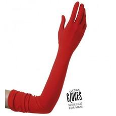 Rode Handschoenen Lycra 60cm
