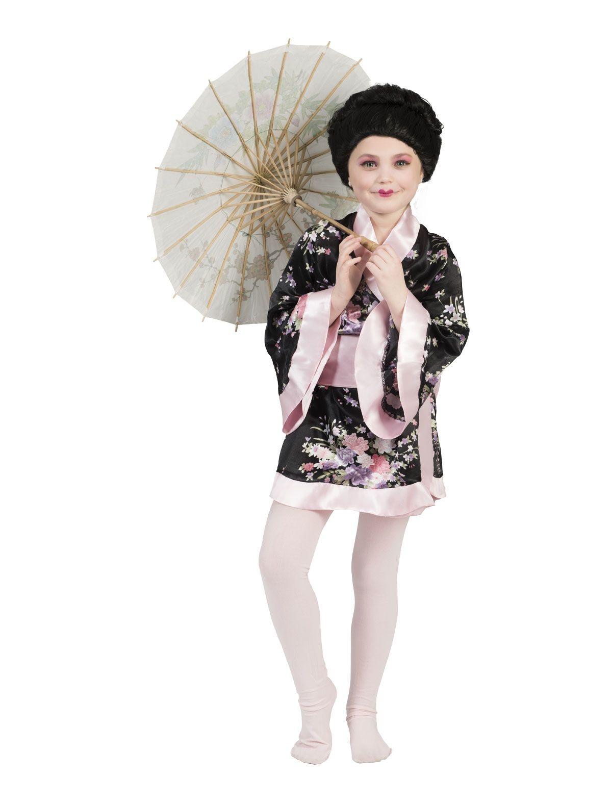 Japanse Kimono Zwart-Roze Meisje