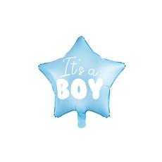 Folieballon Ster lichtblauw It's a boy 48cm