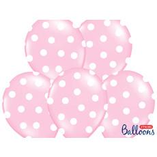 Ballon baby roze pastel met witte stippen 6 stuks