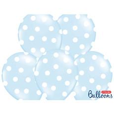 Ballon baby blauw pastel met witte stippen 6 stuks