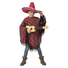 Mexicaanse Poncho Rood/Zwart Miguel Kind