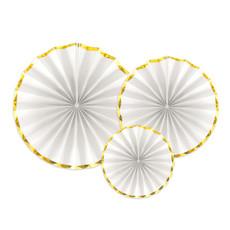 Decoratieve Rozetten Wit met gouden rand (3st)