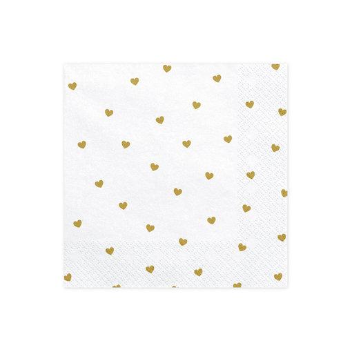 Witte Servetten met gouden hartjes 20 stuks