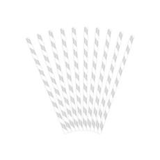 Papieren rietjes zilver/wit gestreept 10 stuks