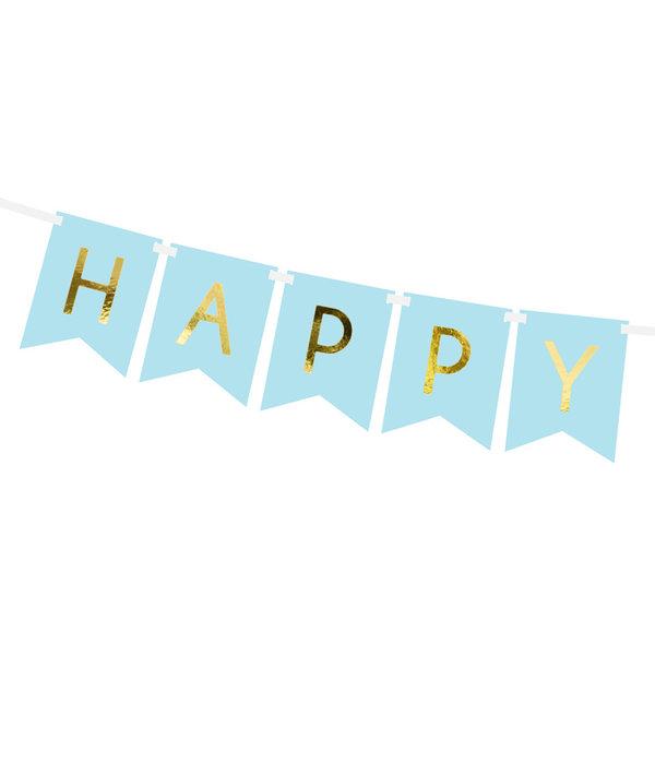 Letterslinger Happy Birthday Lichtblauw