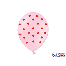 Ballonnen Pastel Pink met Rode Hartjes (6st)