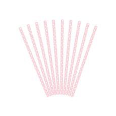 Papieren rietjes roze met witte stipjes 10 stuks