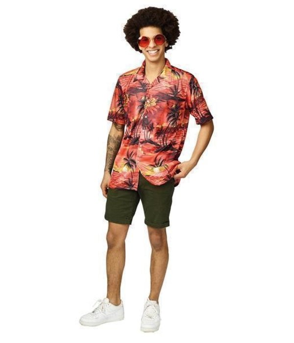 Hawaii Blouse Red Palm