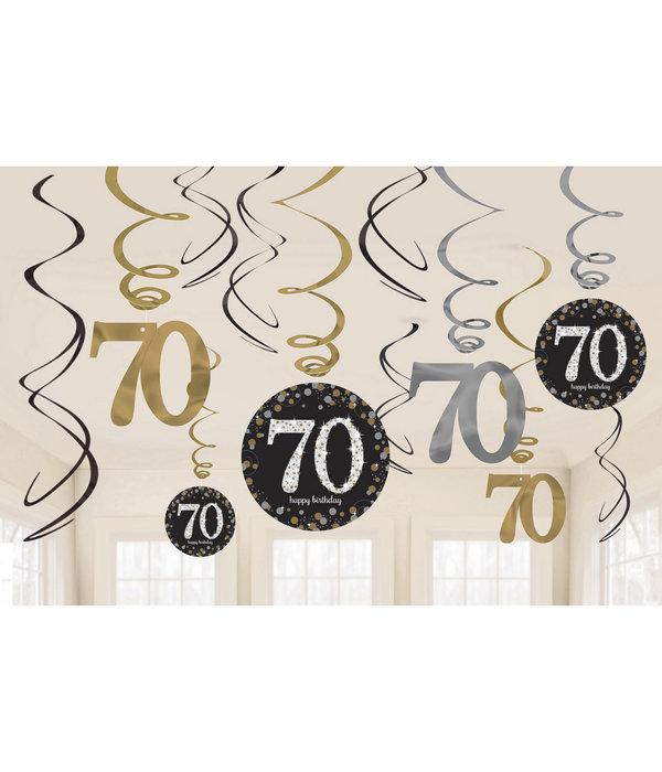 70 Jaar Hangdecoratie Swirlset Zilver/Goud
