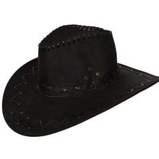 Suede cowboyhoed zwart