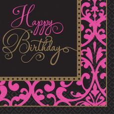 Servetten 'Happy Birthday' Roze - 36 stuks
