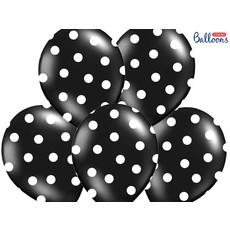 Ballonnen Pastel Zwart Met Witte Stippen - 6 Stuks