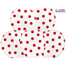 Ballonnen Pastel Wit Met Rode Stippen - 6 Stuks