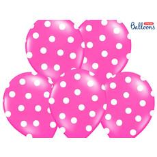 Ballonnen Pastel Pink Met Witte Stippen - 6 Stuks