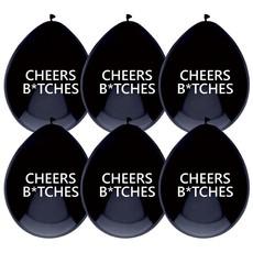 Ballonnen 'Cheers B*tches' Zwart - 6 Stuks