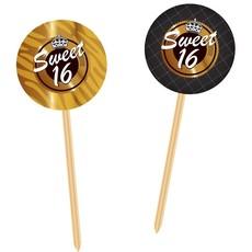 Prikkers Sweet 16 Goud/Zwart - 20 Stuks