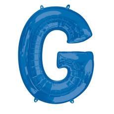 Folieballon Blauwe Letter 'G' groot