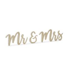 Houten Decoratie Mr & Mrs Goud Glitter